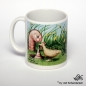 Mobile Preview: lustige Tasse Huhn und Riesenwurm Links