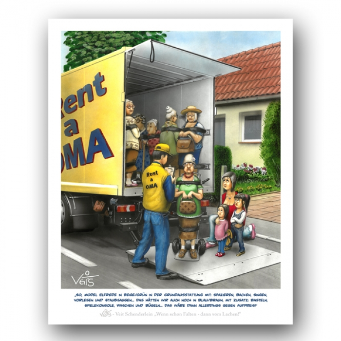 B0219 Karikatur/Cartoon Rent a Oma